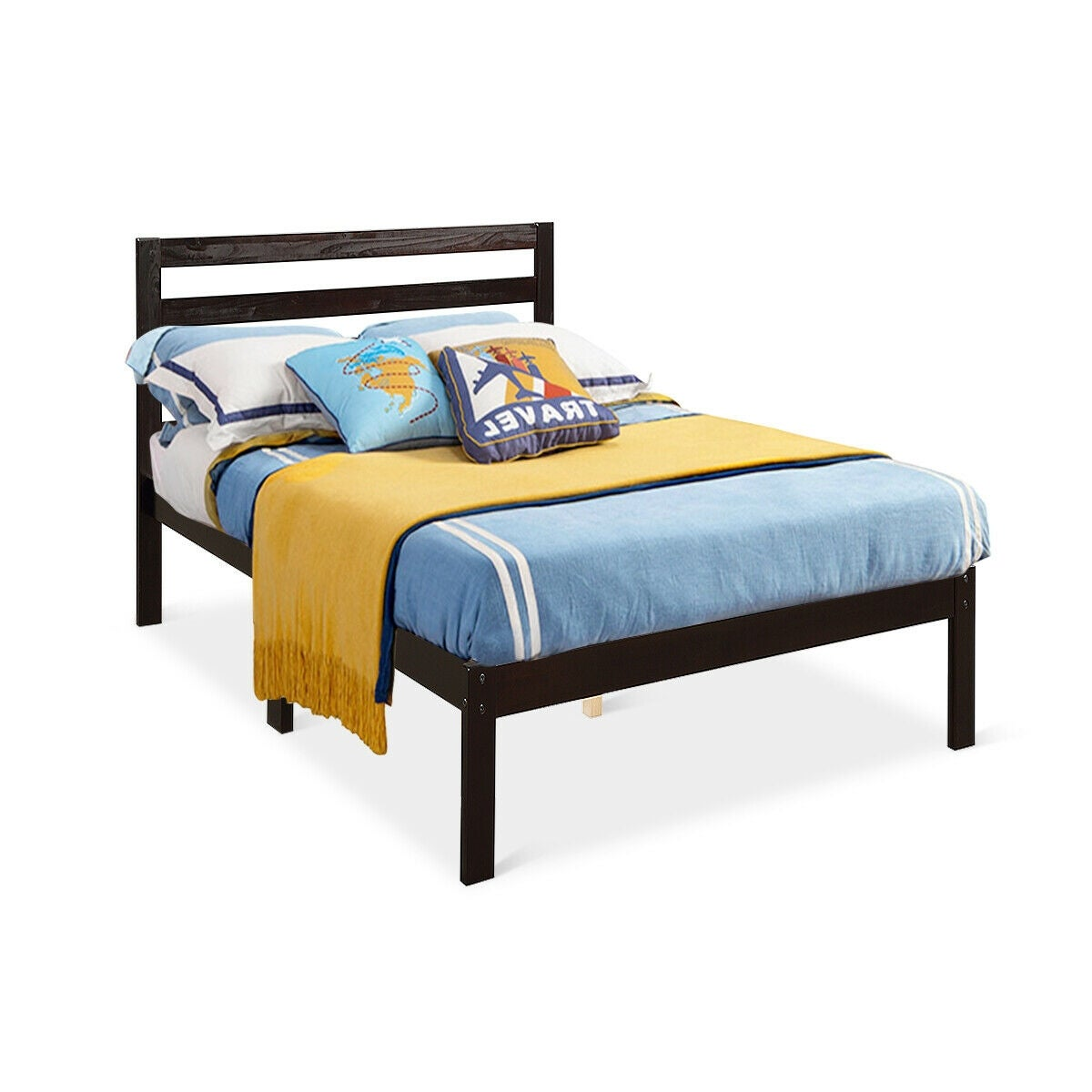 Gymax Solid Wood Platform Bed W