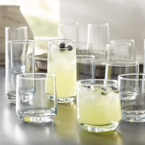 "Josie Mixed Size Drinking Glasses, 16 Piece Glassware Set,Family Partyetc - 3"" x 3"" x 5.9"""