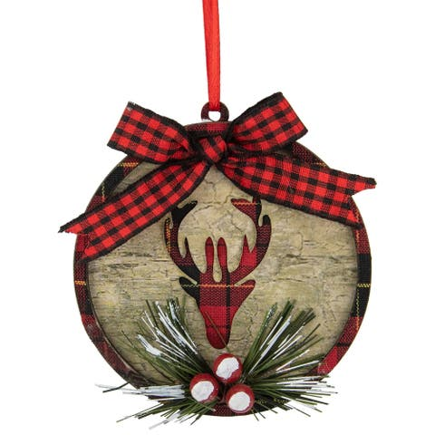 """4"""" Red Buffalo Plaid Reindeer with Holly Berries Christmas Ornament"""