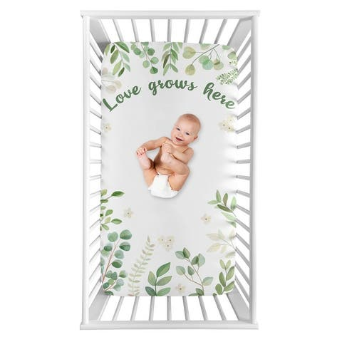 Floral Leaf Collection Girl Photo Op Fitted Crib Sheet - Green and White Boho Watercolor Botanical Woodland Tropical Garden