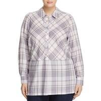 Foxcroft White Women's Size 20W Plaid Print Plus Button Front Shirt