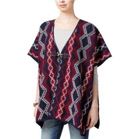 Tommy Hilfiger Women's Navy Red Woven Poncho Vest Sweater, One Size