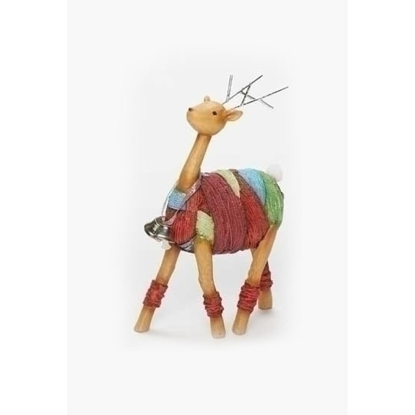 "6.5"" Vibrant Colorful Yarn Wrapped Reindeer with Jingle Bells Christmas Figure - multi"