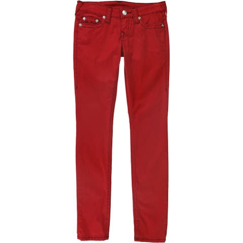 True Religion Womens Sateen Skinny Fit Jeans, Red, 27