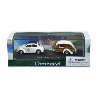 Volkswagen Beetle #53 with Caravan III Trailer in Display Showcase 1/72 Diecast Model Car by Cararama