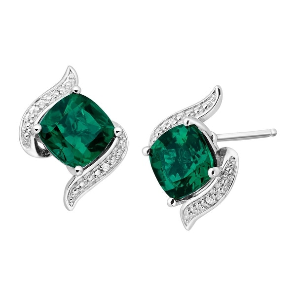 2 3/4 ct Created Emerald Stud Earrings with Diamonds in Sterling Silver - Green