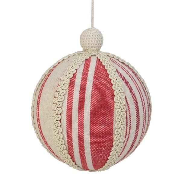 "Shop 6"" White and Red Striped and Ribboned Ball Christmas ..."