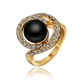 Gold Plated Swirl Onyx Gem Ring