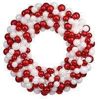 """36"""" Sparkling Red & White Candy Cane Shatterproof Christmas Ball Ornament Wreath"""