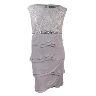 Jessica Howard Women's Plus Laced Chiffon Embellished Dress