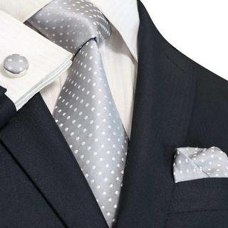 TheDapperTie Men's Grey & White Polka Dots 100% Silk Neck Tie Set 53N