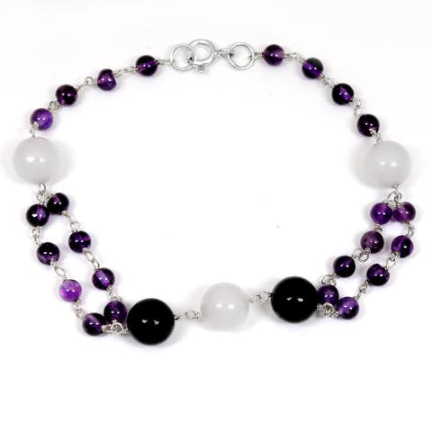 Agate Sterling Silver Ball Beaded Bracelet by Orchid Jewelry
