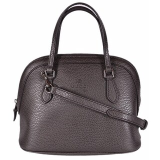 Gucci 341504 Brown Textured Leather Convertible Mini Dome Purse