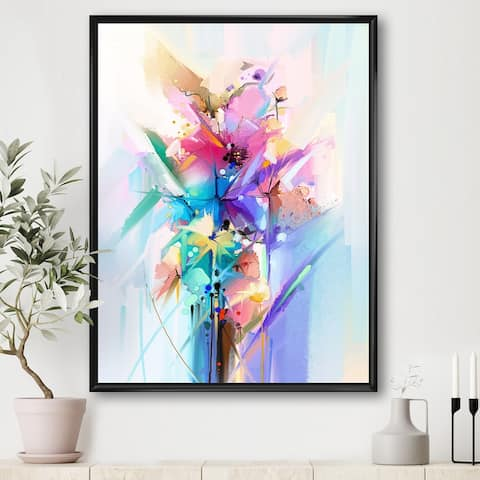 Designart 'Abstract Colorful Spring Flowers' Modern & Contemporary Framed Canvas Wall Art Print