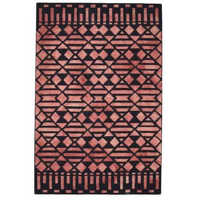 One of a Kind Hand-Tufted Modern 5' x 8' Geometric Wool Red Rug - 5' x 8'