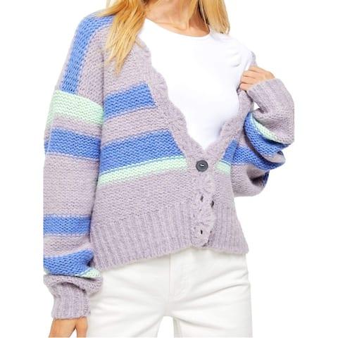 Free People Womens Sweater Cardigan Striped Scallop
