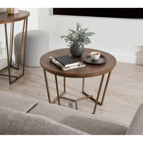 Kate and Laurel Solvay Wood and Metal Coffee Table - 28x28x18