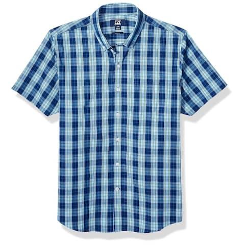 Cutter & Buck Mens Shirt Blue Size XL Strive Shadow Plaid Button Down