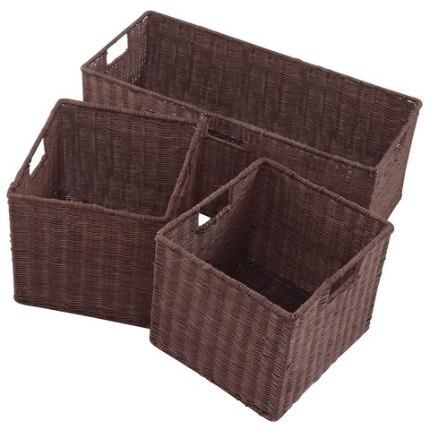 Gymax 3PCS Rattan Storage Baskets Nest Nesting Cube Bin Box - as pic