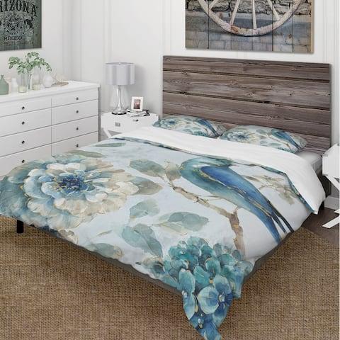 Designart 'Indigold Watercolor Lovely bird II' Cottage Bedding Set - Duvet Cover & Shams