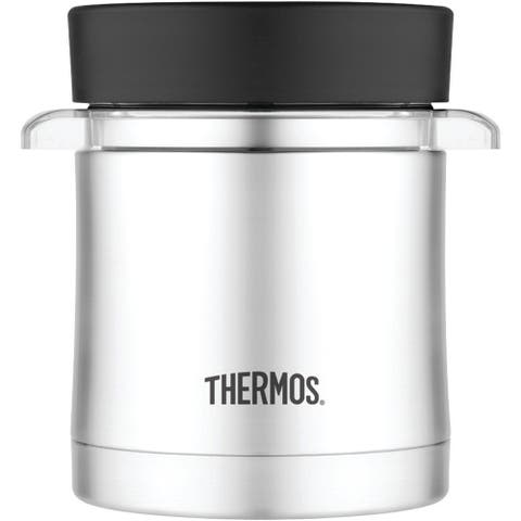 Thermos Vacuum Insulated Food Jar and Microwavable Insert (12oz/Stainless Steel) - Black