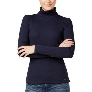 Tommy Hilfiger Womens Turtleneck Top Ribbed Long Sleeve