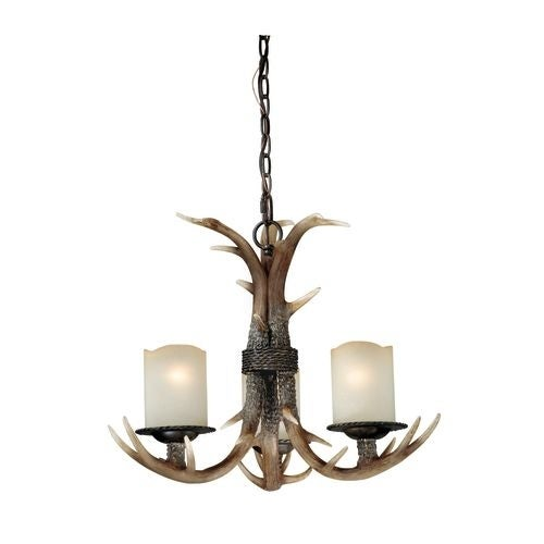 Vaxcel Lighting H0013 Yoho 3 Light Single Tier Chandelier with Frosted Glass Shades - 21 Inches Wide