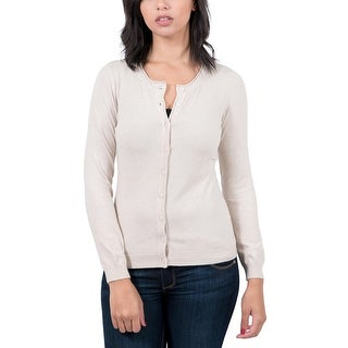 Real Cashmere Beige Crewneck Cardigan Womens Sweater