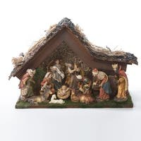 """Set of 10 Musical LED Christmas Nativity Figures and Stable 9.5"""""""