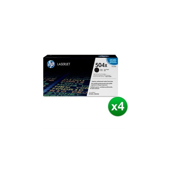 HP 504X High Yield Black Original LaserJet Toner Cartridge (CE250X)(4-Pack)