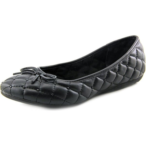 White Mountain Inspired Women Round Toe Synthetic Black Flats