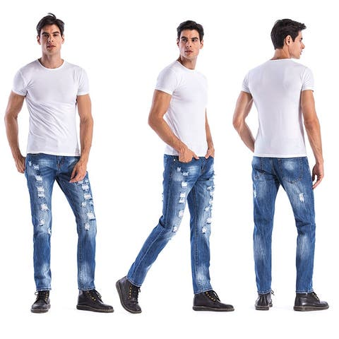 Hemiks Men's Casual Ripped Straight Broken Hole Legs Denim Pants For Men