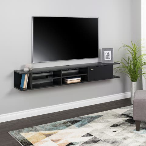 """Prepac Wall Mounted Media Console with Door - 70"""" W x 10"""" H x 12"""" D"""