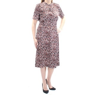 Womens Ivory Printed Short Sleeve Midi Sheath Wear To Work Dress Size: 0