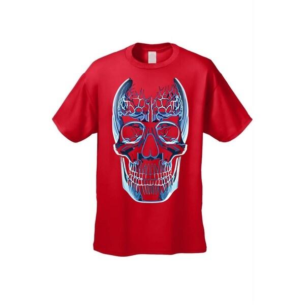 Men's T-Shirt Blue Glass Skull Oversized Graphic Skeleton Grim Reaper Death Tee