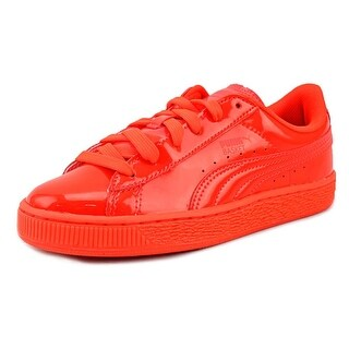 Puma Basket Classic Patent Ps Youth Patent Leather Orange Fashion Sneakers