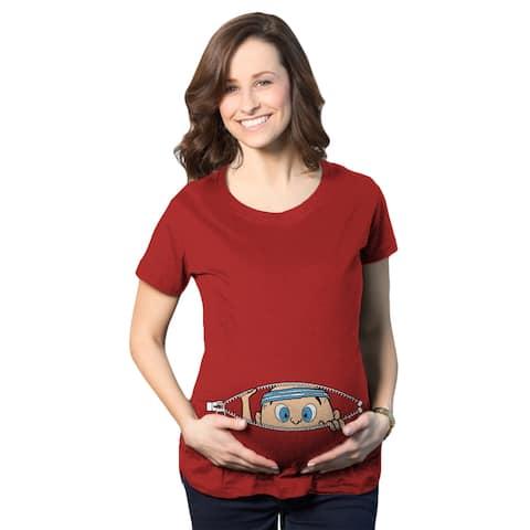 Exercise Peeking Baby Maternity T-Shirt (Red)