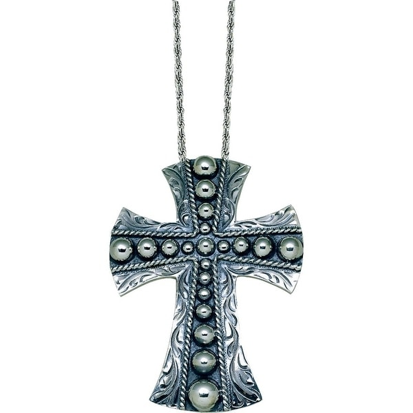 "Vogt Western Womens Necklace Domed Beaded Cross 2 1/2"" Silver 016-053"