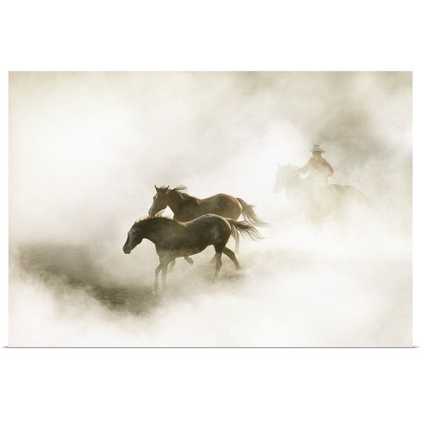"""""""Cowboy rounding up horses in morning fog"""" Poster Print"""