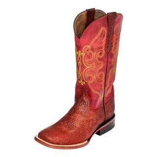 Ferrini Western Boots Women Sparkle Embroidery Square Toe Red