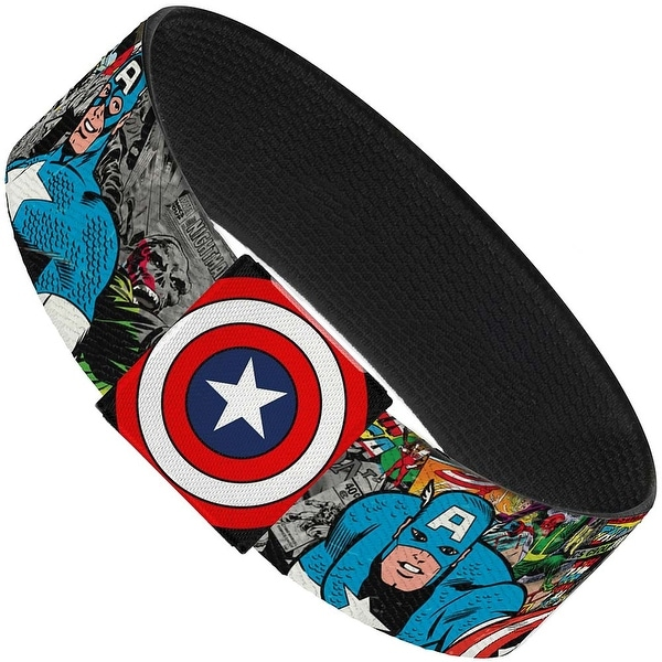 Captain America Action Poses Shield Stacked Comics Elastic Bracelet