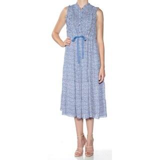 Womens Blue Floral Sleeveless Tea-Length Peasant Dress Size: M