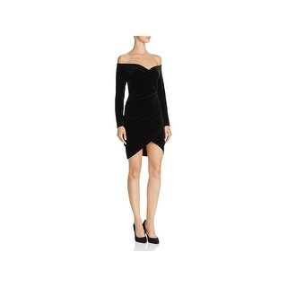 Bardot Womens Alex Cocktail Dress Velvet Off-The-Shoulder