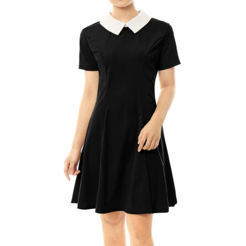 Unique Bargains Women's Contrast Doll Collar Short Sleeves Flare Above Knee Dress