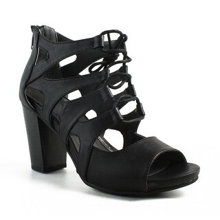 White Mountain Womens W23217-097-6 Black Open Toe Heels Size 6