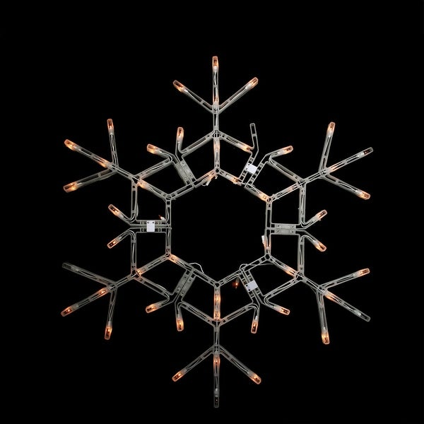 """35.5"""" Folding Lighted Twinkling Snowflake Christmas Window Decoration - Clear Lights"""