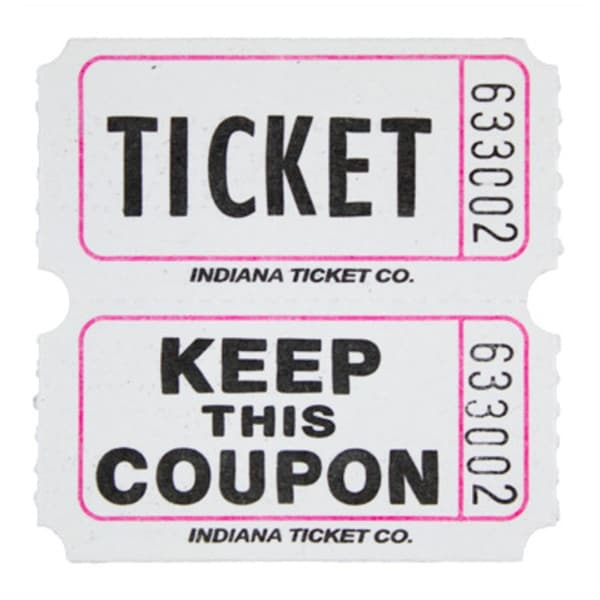 shop white double raffle ticket roll free shipping on orders over