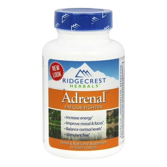 Ridgecrest Herbals Adrenal Fatigue Fighter - 60 Vegan Capsules - Increase Energy - Improve Mood & Focus - Stimulant Free