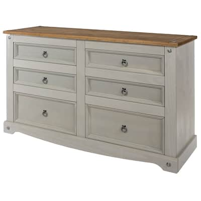 Wood Dresser 3+3 Drawers Chest Corona Collection | Furniture Dash