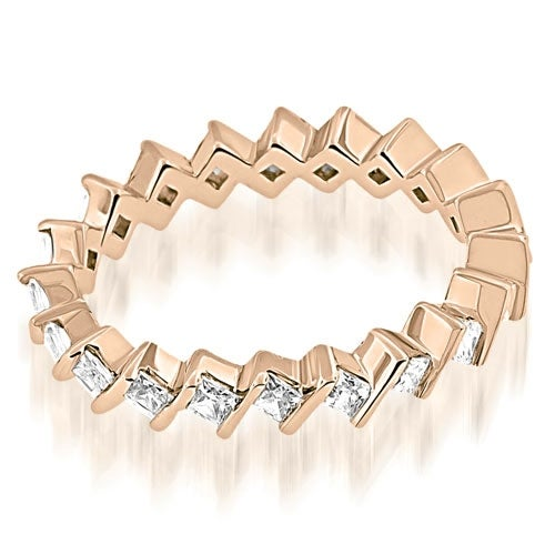 1.40 cttw. 14K Rose Gold Stylish Bar Set Princess Cut Diamond Eternity Band